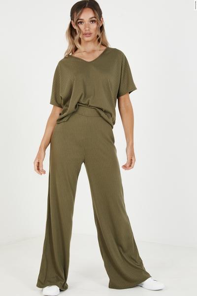 Khaki Ribbed High Waist Trousers